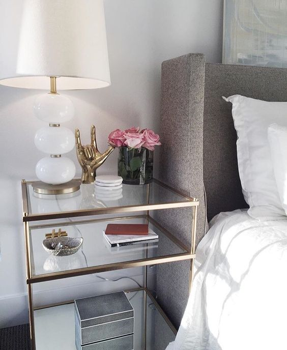 glamorous bedside table