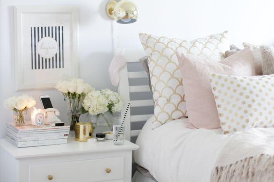 feminine bedside table styling