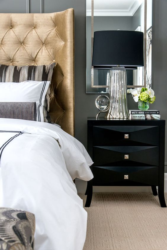 black bedside table, masculine