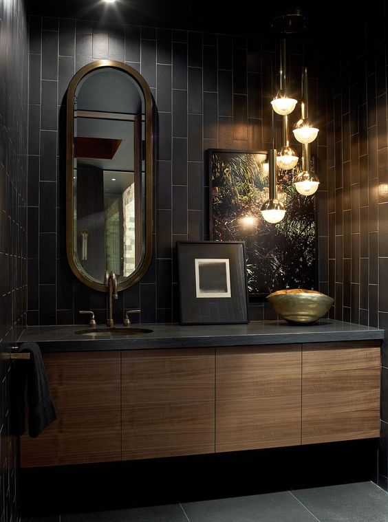 dramatic dark washroom