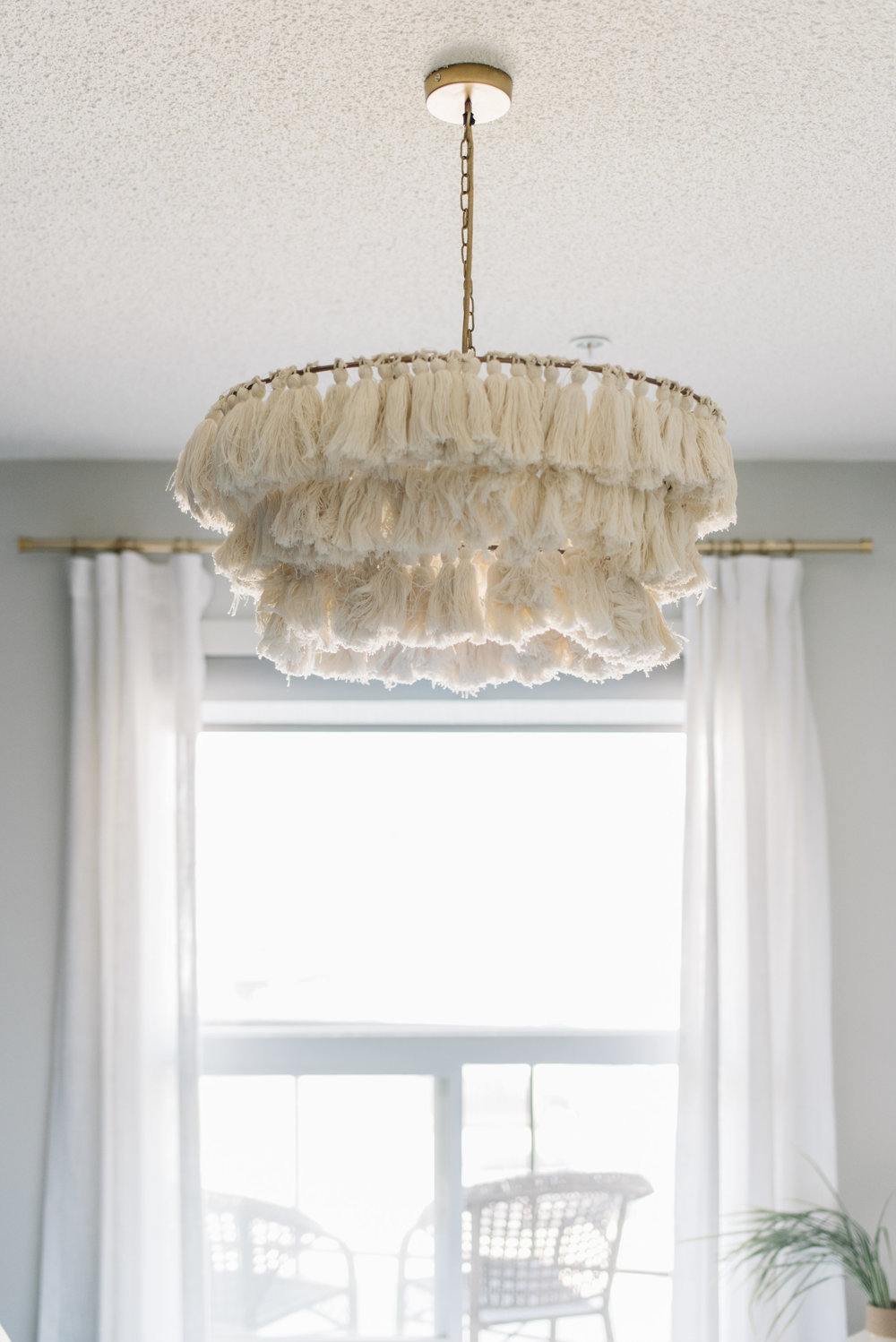 jungalow light pendant, tassel light fixture