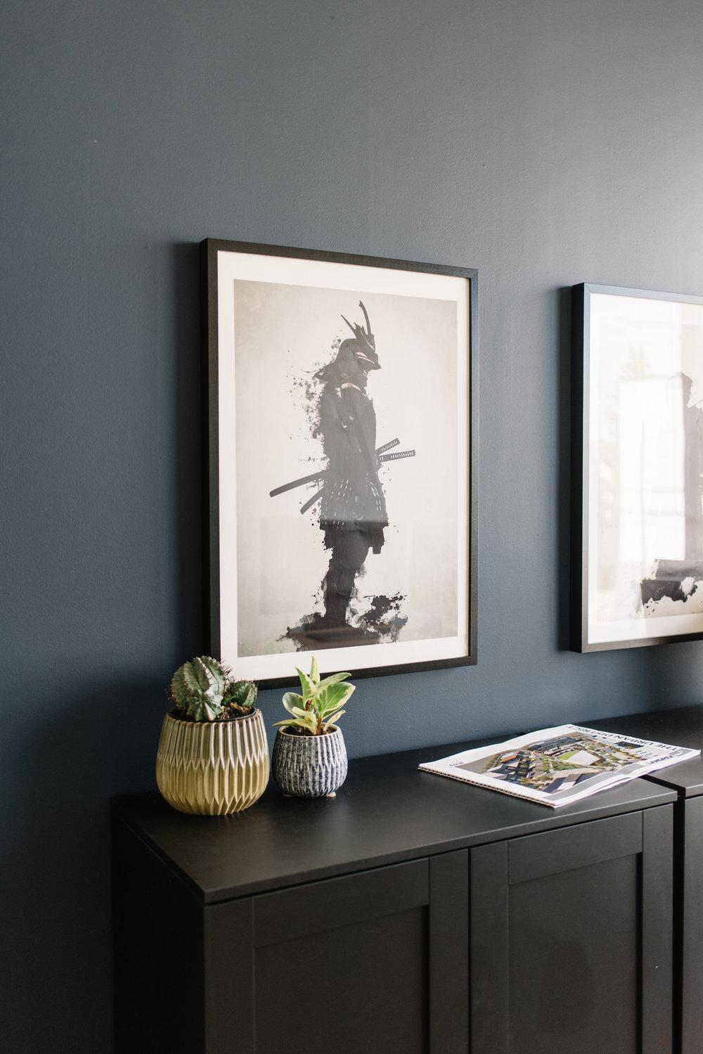 modern office renovation, dark wall
