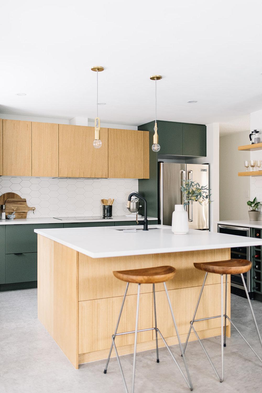 modern kitchen, green and oak kitchen