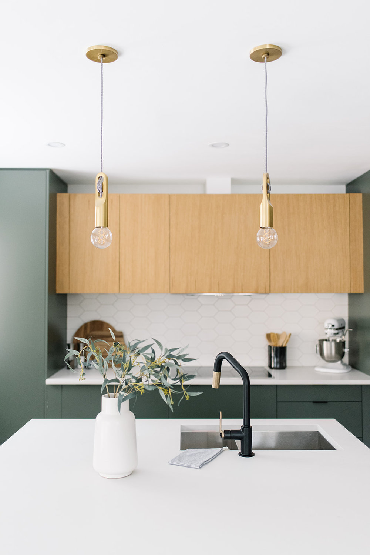 brass pendants in kitchen