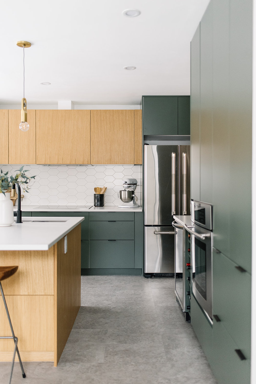 minimalist green kitchen