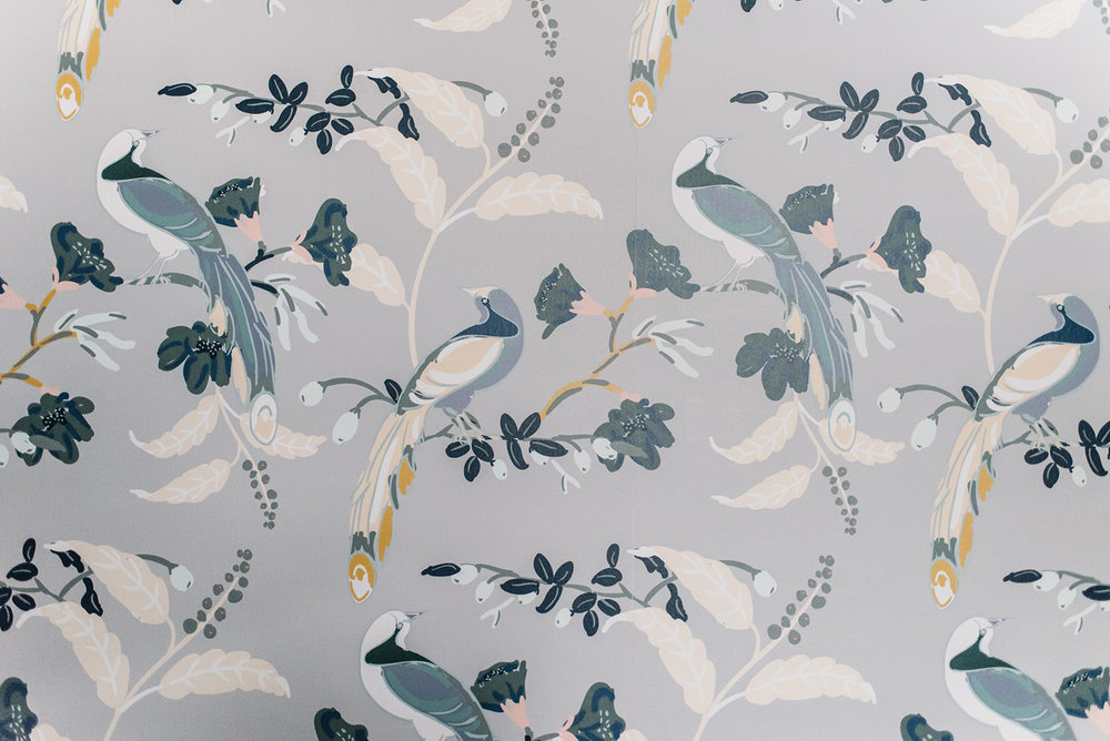milton and king wallpaper, birds wallpaper grey