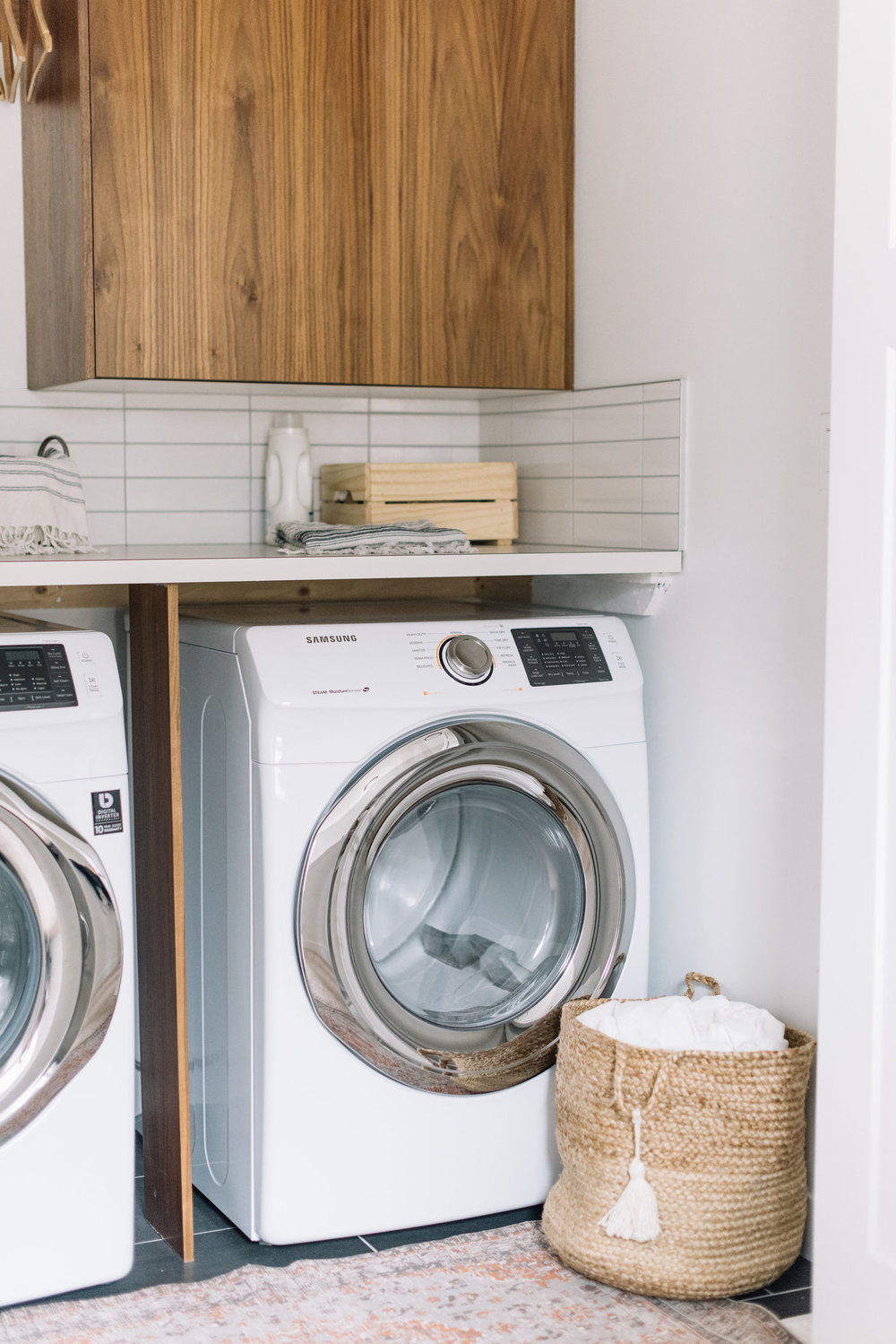modern walnut laundry room