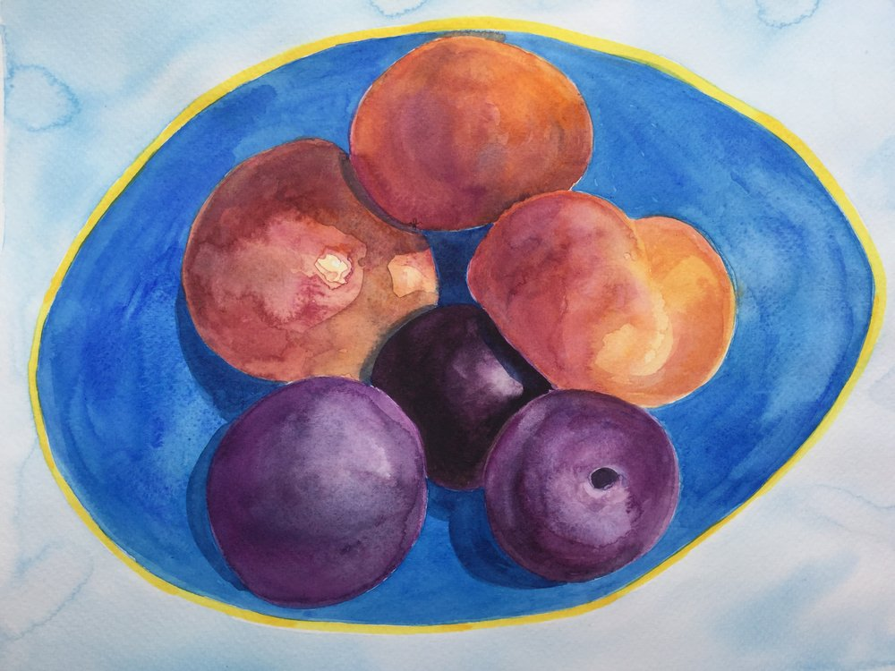Peaches in a Blue Bowl