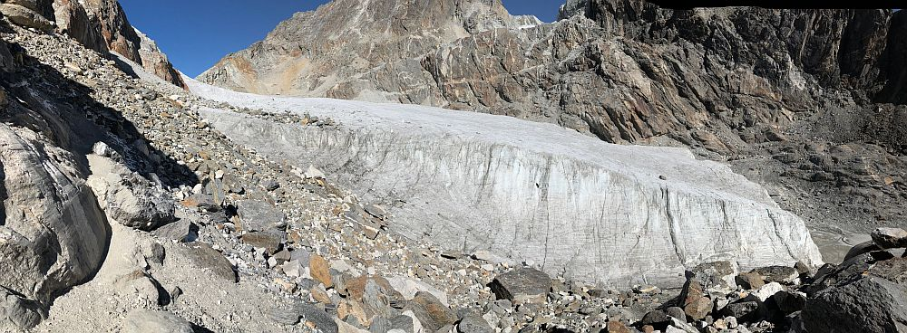 Side view of the glacier at Cho La Pass. We climbed from here, over the ice to the high point at the upper left.