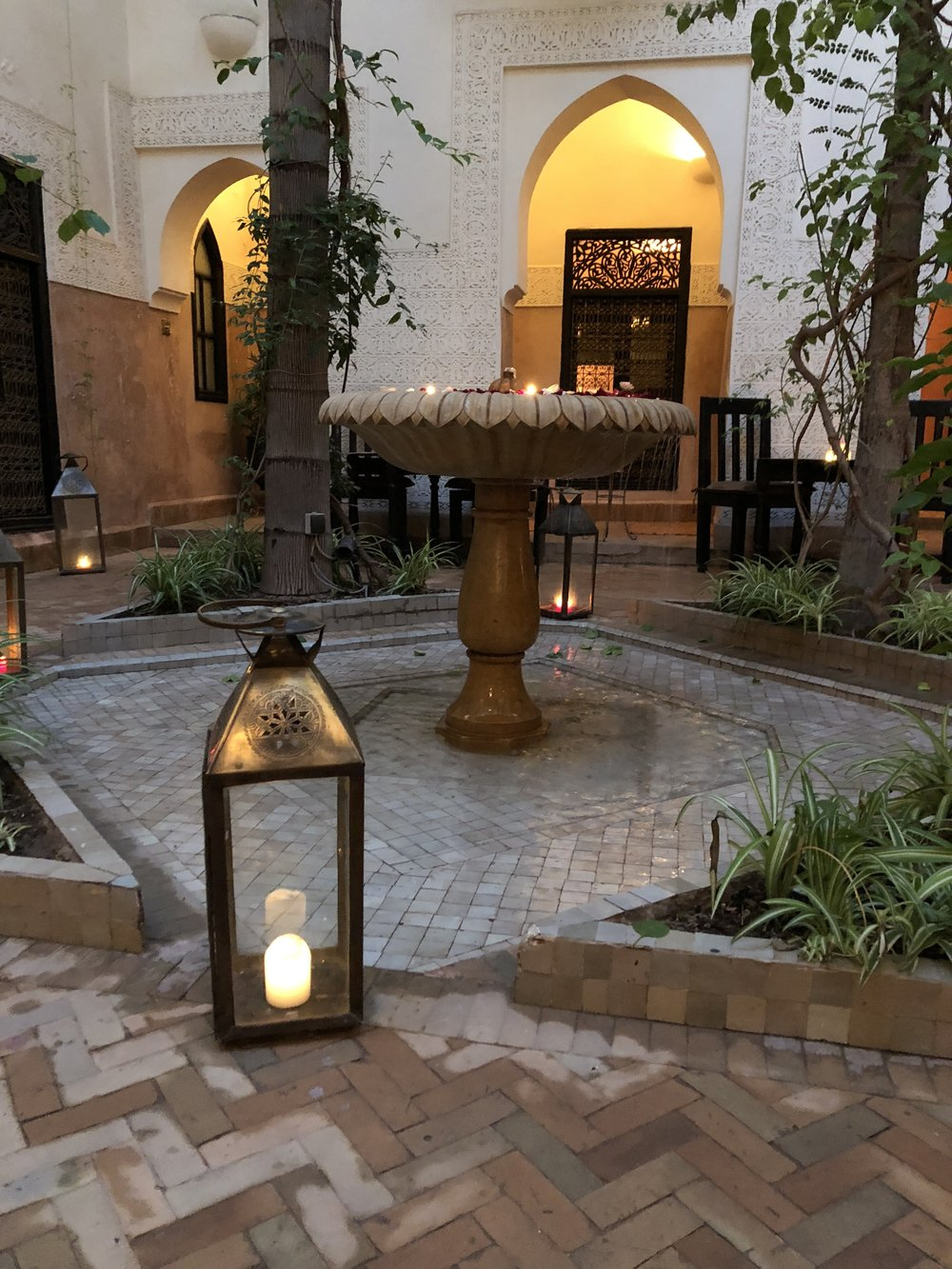 The courtyard at the center of our riad, home for the next three nights.