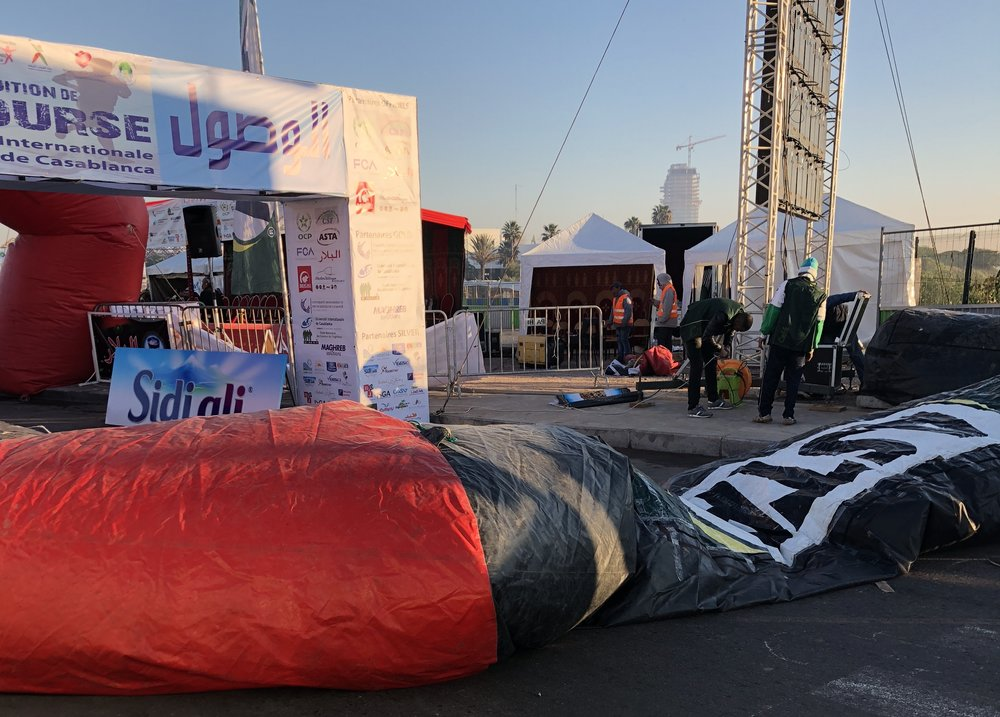 "Weirdly, whenever asked ""Where is the start?"" they ushered me through barricades and further into the staging area, until I was standing next to the yet-to-be-inflated archway that would mark the start and finish line. And yes, I was standing there still asking, ""But where is the start?!"""