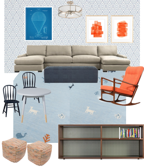 Sources: Rug; Wallpaper, Blue Art, Orange Art, Ceiling Light, Sectional, Ottoman, Rocker, Table, Chairs, Poufs, Shelves