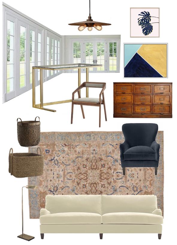 Sources:  Pendant Light ,  Art 1 ,  Art 2 ,  Desk ,  Desk Chair ,  Drawers ,  Basket 1 ,  Basket 2 ,  Rug ,  Wing Back Chair ,  Reading Light ,  Sofa
