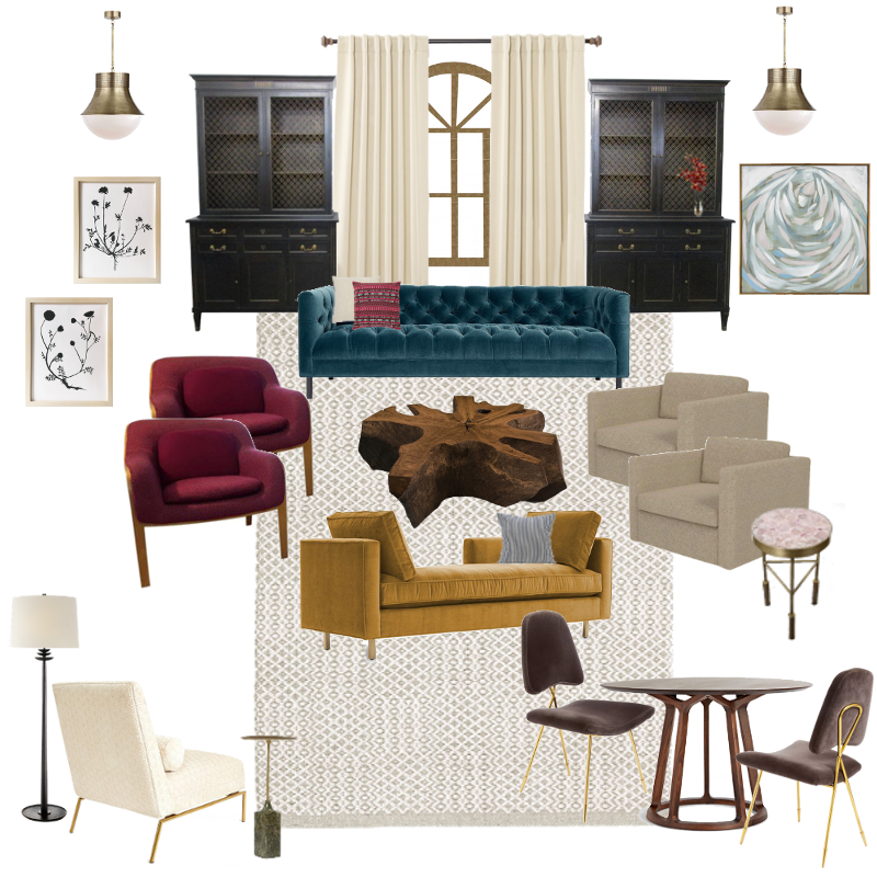 Sources:  Pendants ,  Cabinets ,  Art 1 ,  Art 2 ,  Art 3 ,  Rug ,  Tufted Sofa ,  Pillow 1 ,  Pillow 2 , Club Chairs (Burgundy) ,  Coffee Table ,  Club Chairs (Beige) ,  Side Table 1 ,  Lounge Sofa ,  Pillow 3,   Floor Lamp ,  Slipper Chair ,  Side Table 2 ,  Game Table ,  Chairs