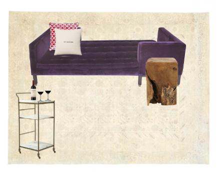 Sources: Tête-à-Tête ,  Pillow 1 ,  Pillow 2 ,  Rug ,  Side Table ,  Bar Cart