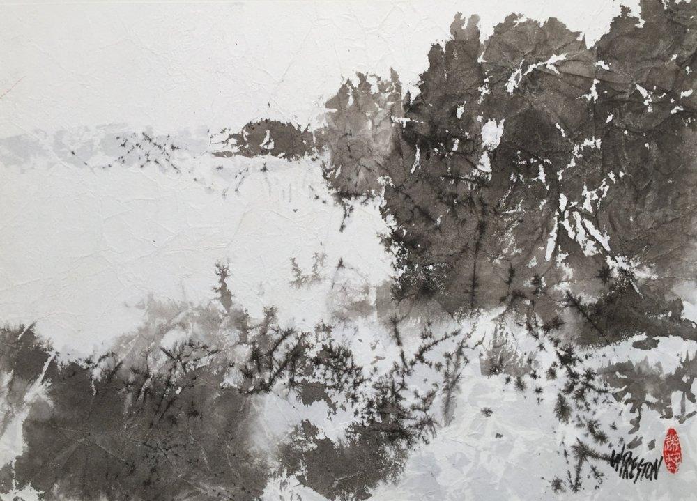 "Winter Wonder - Sumi (mtd on illusion board)  10.75x15.5""im $450"