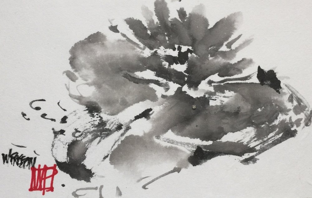 "Pond Lily - Sumi 5.5x10"" $350"