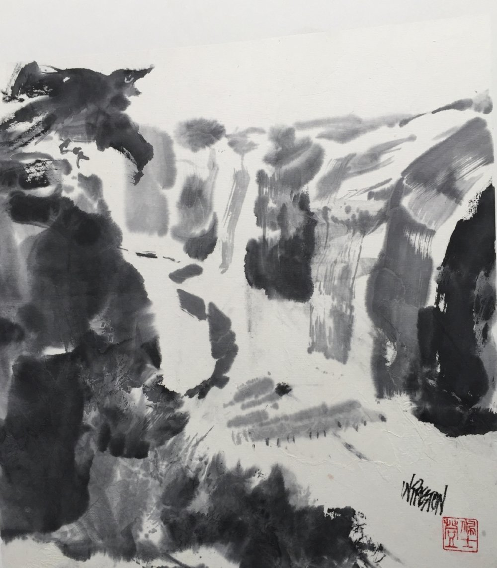 """Raven at Canyon de Chelly  Sumi mtd on illustration board -13.5x12.5""""  $650"""