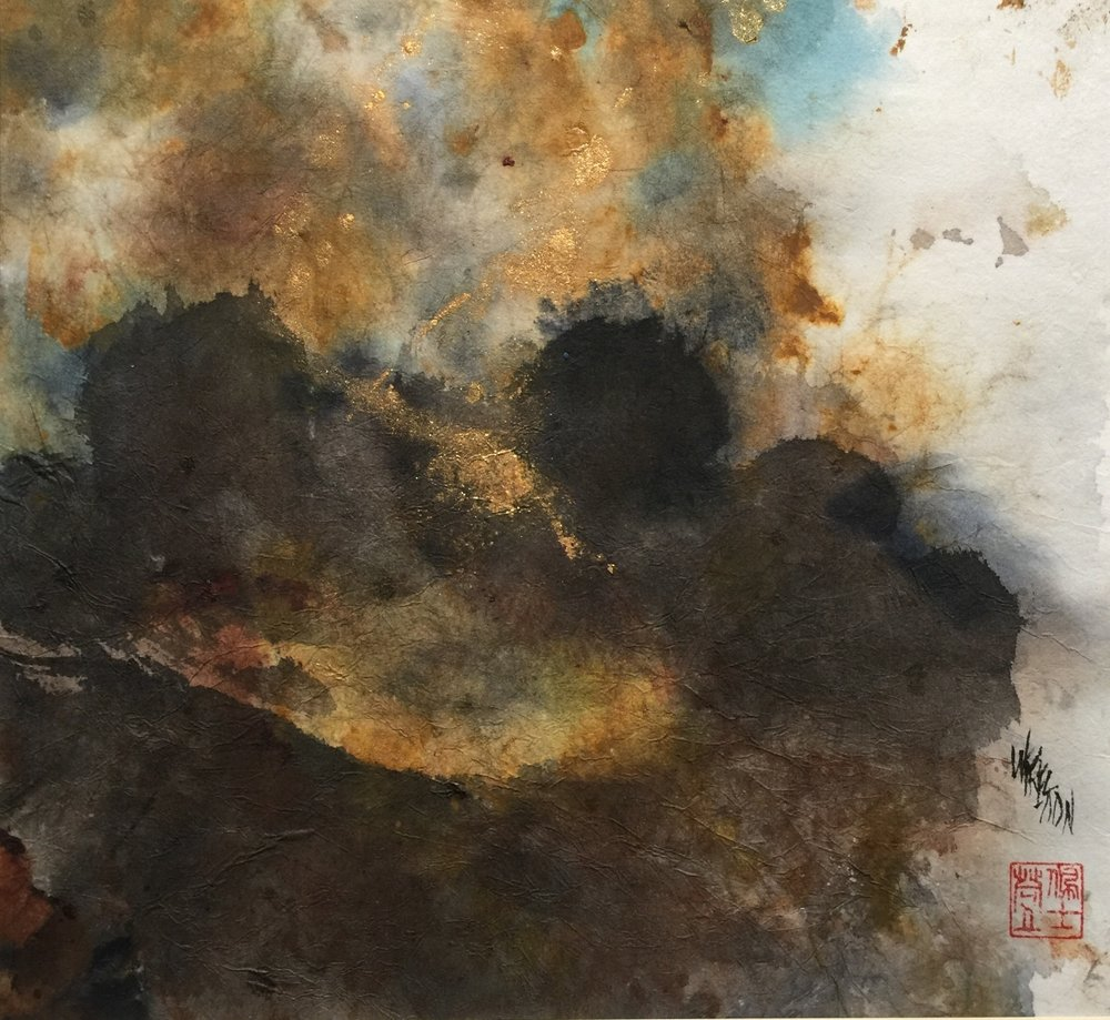 "Abstraction with Gold - Sumi/Chinese WC -11x12""-$550."