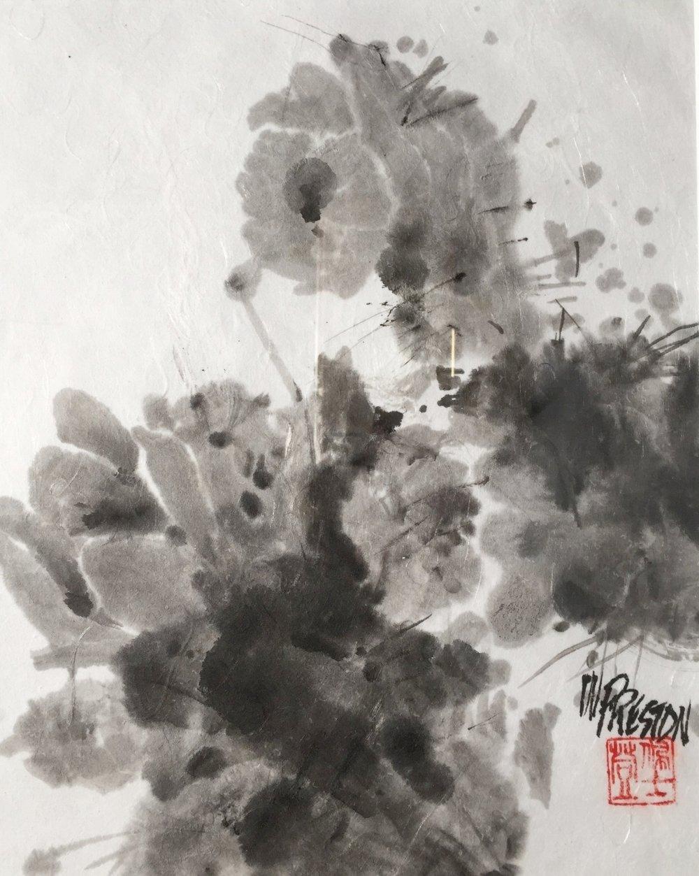 """Cactus Blossoms - Sumi-e 11x8""""im20x16fr  $650"""
