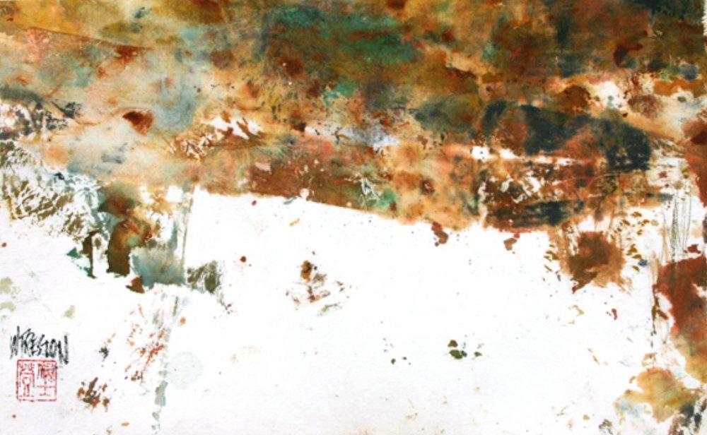 "Arroyo's Edge - Sumi/Chinese WC. 8x13.5""im 17x22fr"