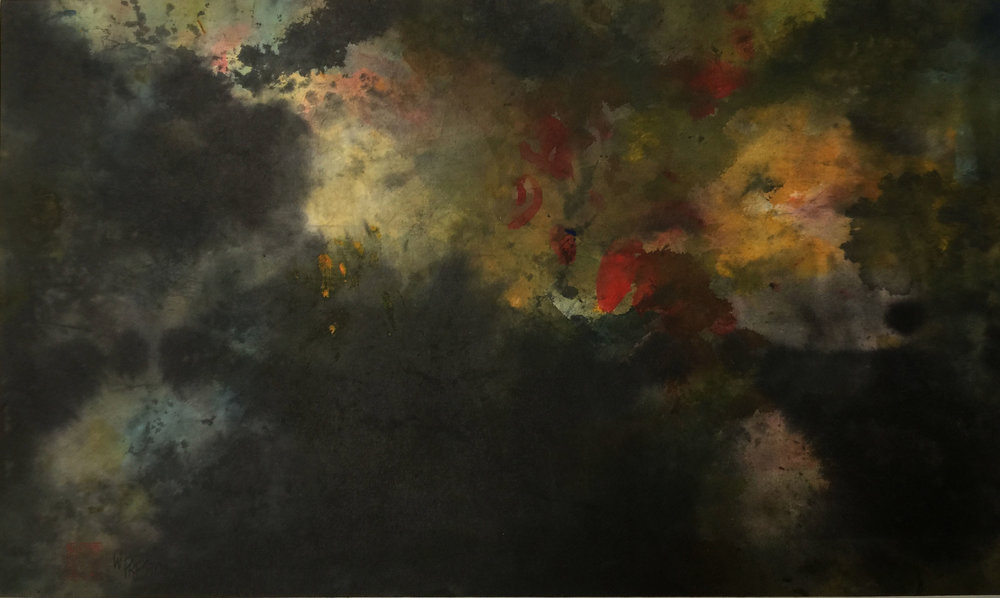 "Dark Pond - Sumi&ChineseWC 11x21""im 21x30""fr  $800"