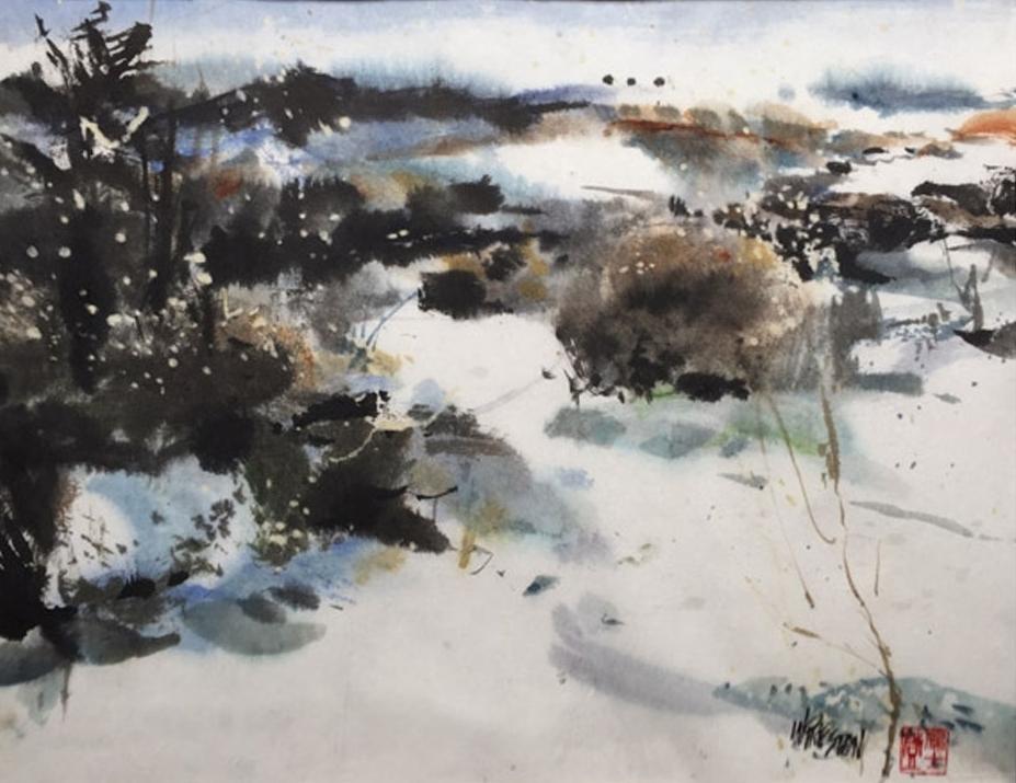"Winter Snow - Sumi/WC- 13.5x17.5im -22x27""fr $850."