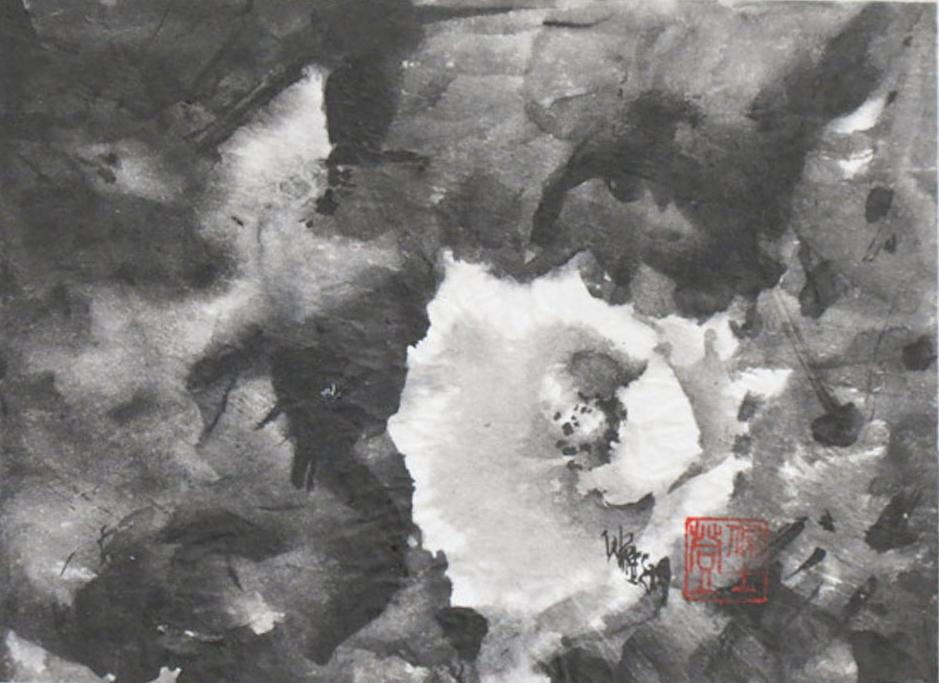 "Bloom - Sumi 6.5x7""im on cradled panel 9x12"" - $300"