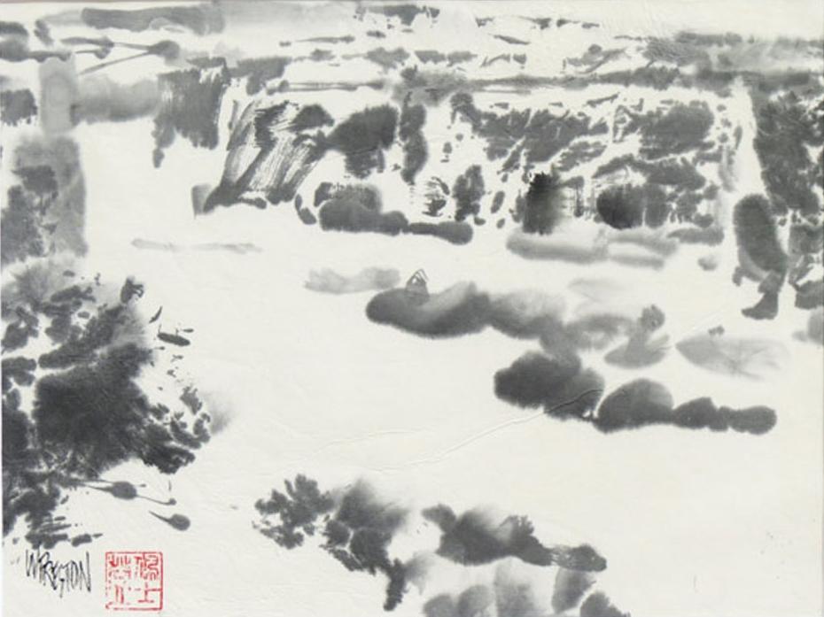 """Into Canyon De Chelly - Sumi 8.5x11""""im 11x14""""fr $650"""