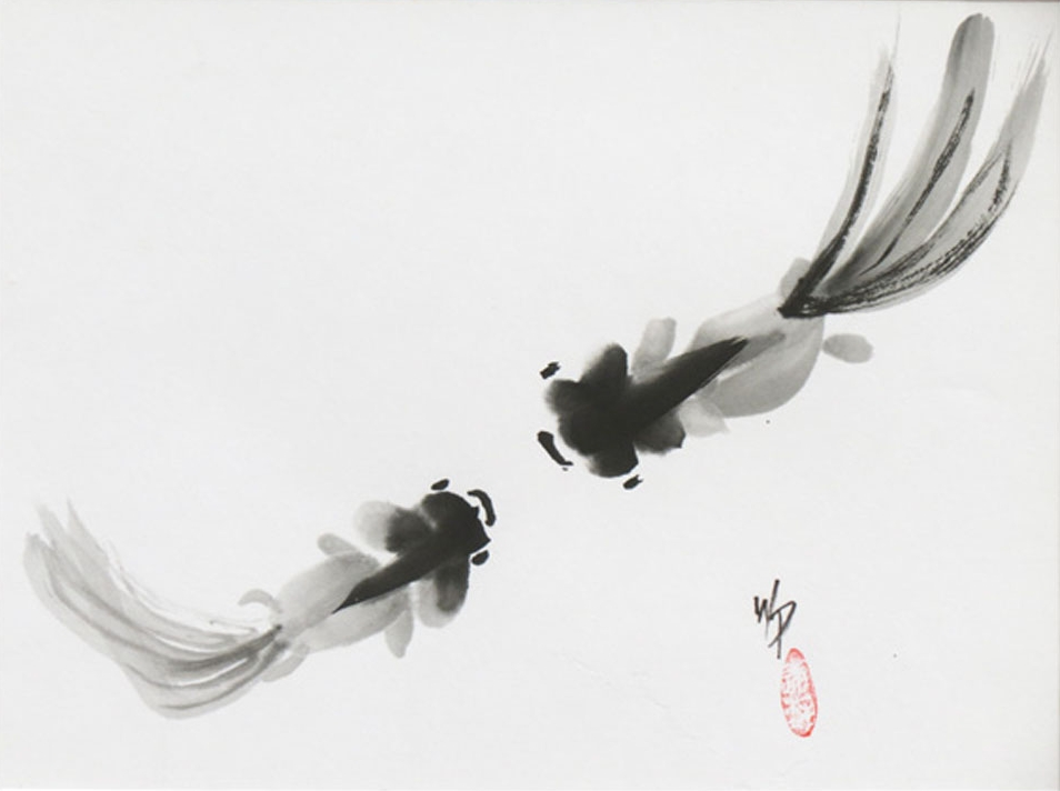 "Love at First Sight - Sumi 8.5x11""im 11x14""fr $450"