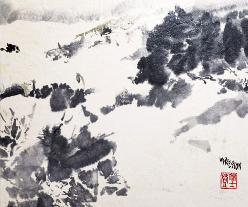 "Snowy Path - Sumi 10.25x12""im14x13""cradled panel - $450"