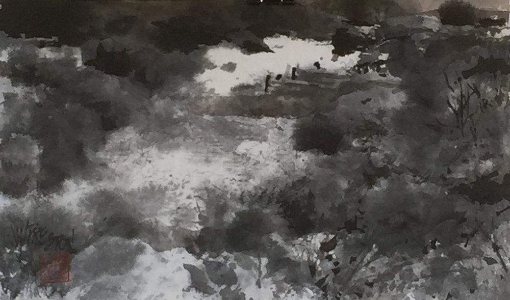 "Autumn Pond - 8x14"" - 350."