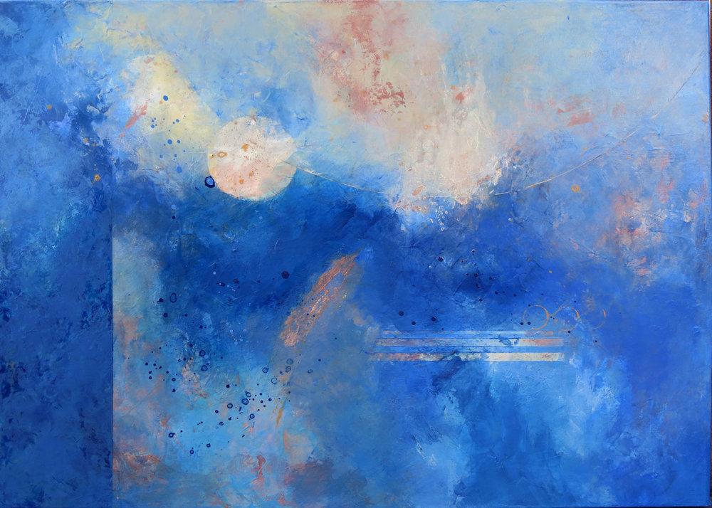 BLUES SONG  Challenges and difficulties common to all of us eventually ease, and the blues give way to lightness, floating as silver orbs out of the depths. As inevitable as sunrise, darkness lifts and light returns.  30 x 40"