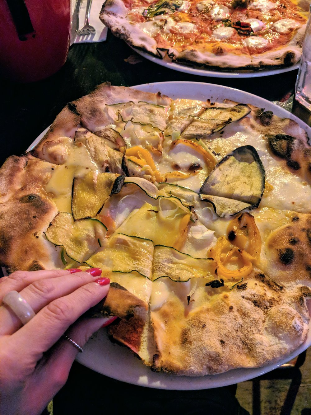 'Stephen Patrick' - cheese, courgette and pumpkin pizza at Apollo