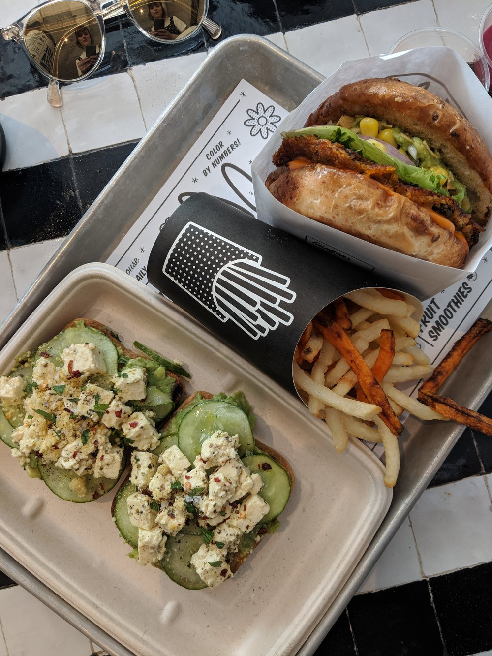 Guac burger, avo toast and fries from by CHLOE