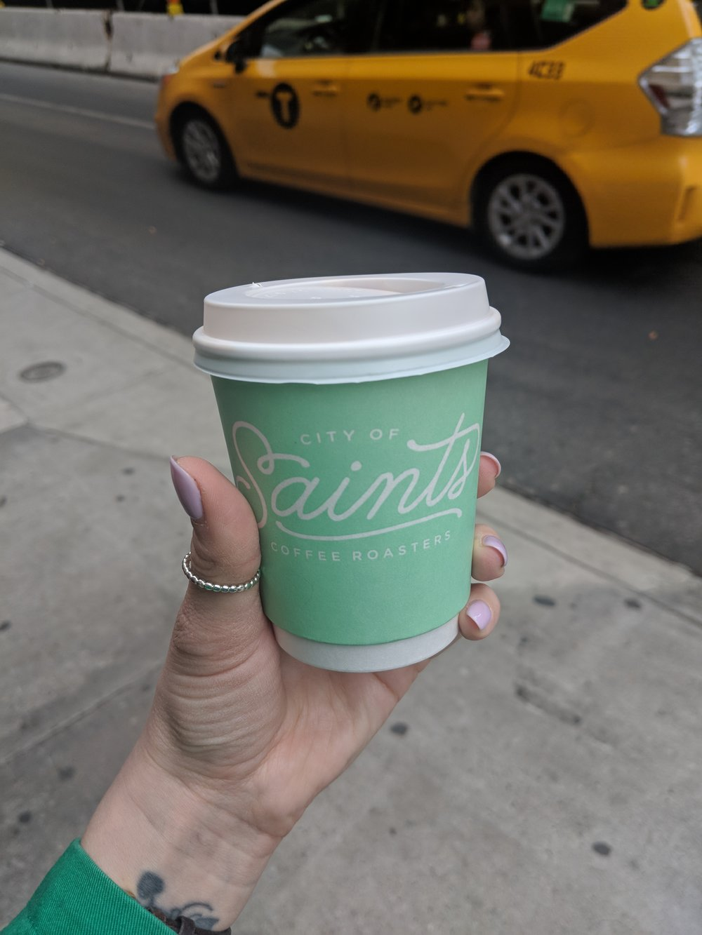 Flat white on the go from City of Saints