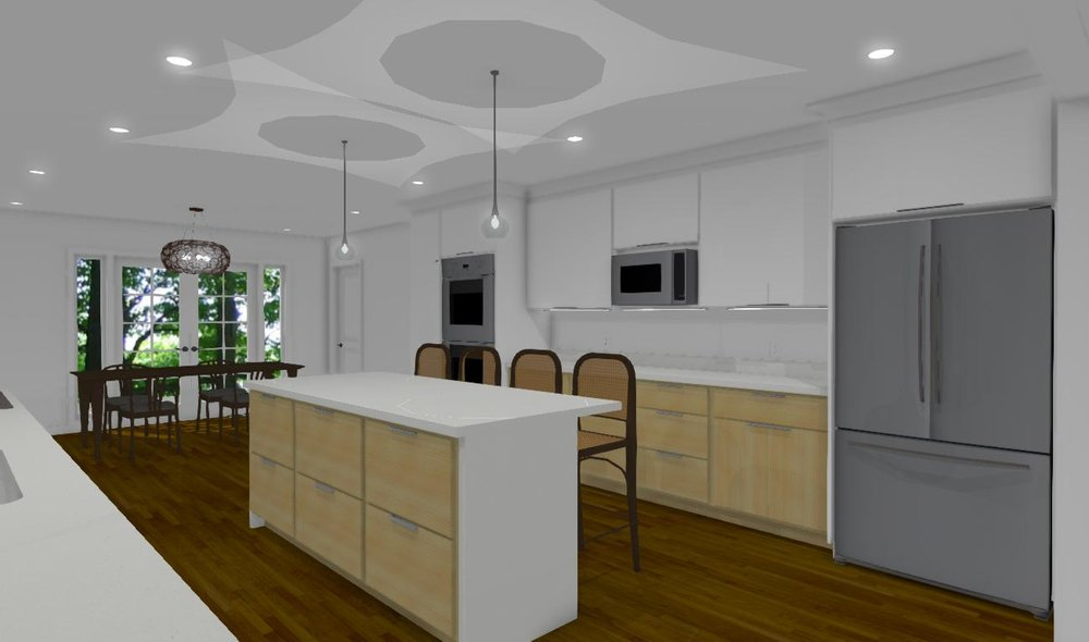 3D rendering showing the kitchen layout and the dining area located near the french doors.