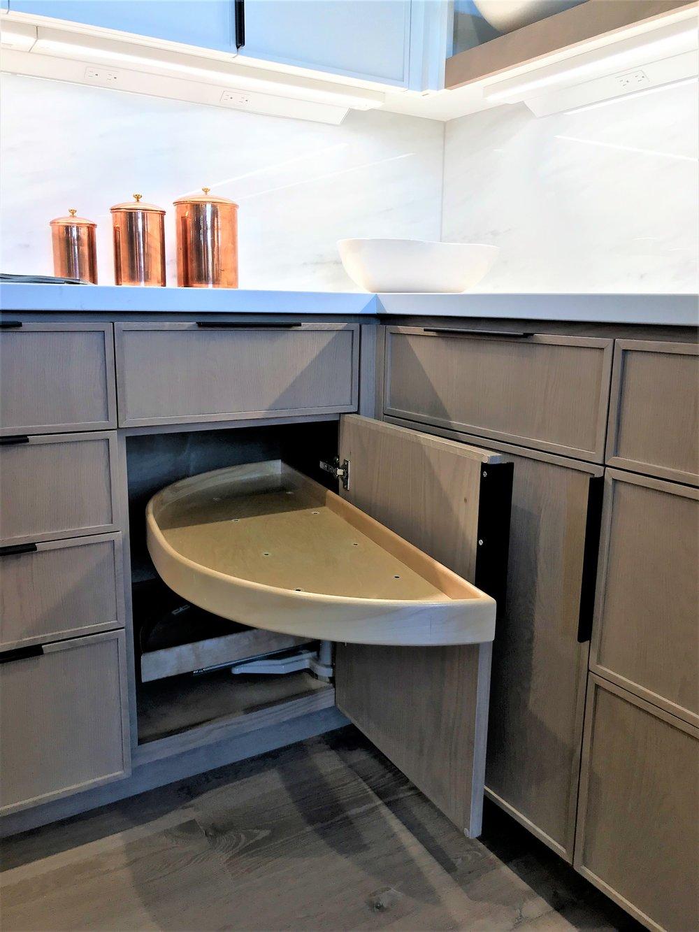 Blind Corner Cabinet with 'Half Moon' Shelves