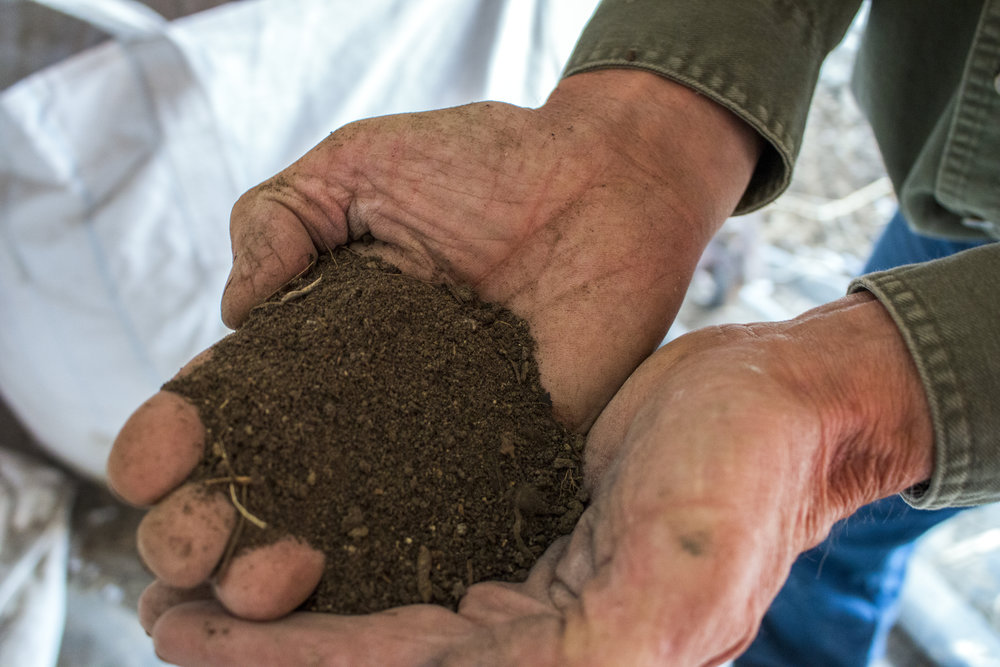 Steve holds soil that has just run through the trummel. This process readies the soil for regeneration.