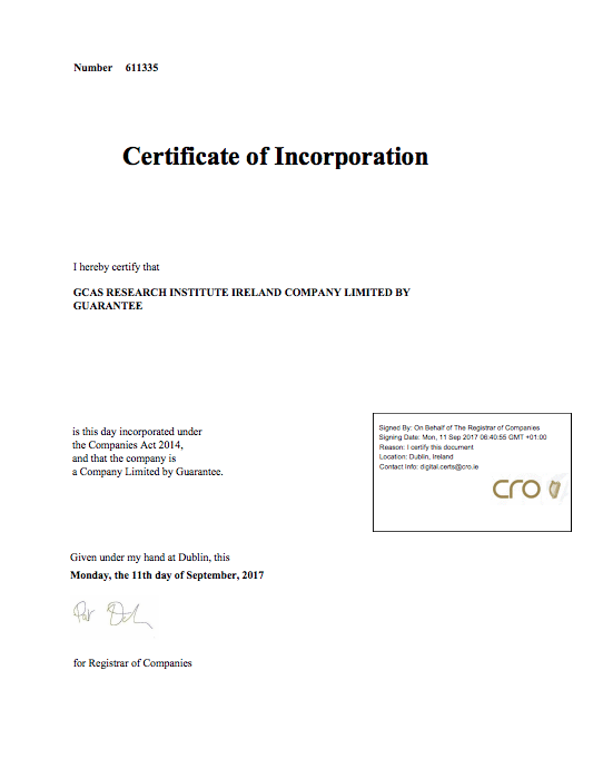 Certificate of Incorporation GCAS Research Institute Ireland