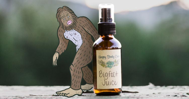 Happy Body Care's Bigfoot Juice is supposed to attract Sasquatches within 1.5 miles. (Art:  Nes Vuckovic )
