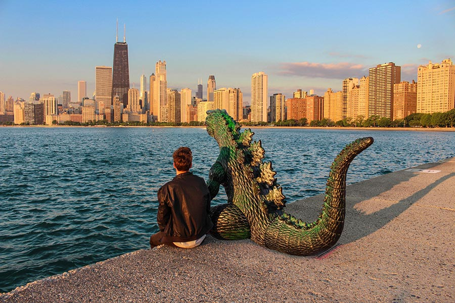 Kieran Murray's infatuation with his toy Godzilla began in 2014. ( @ryangodziling )