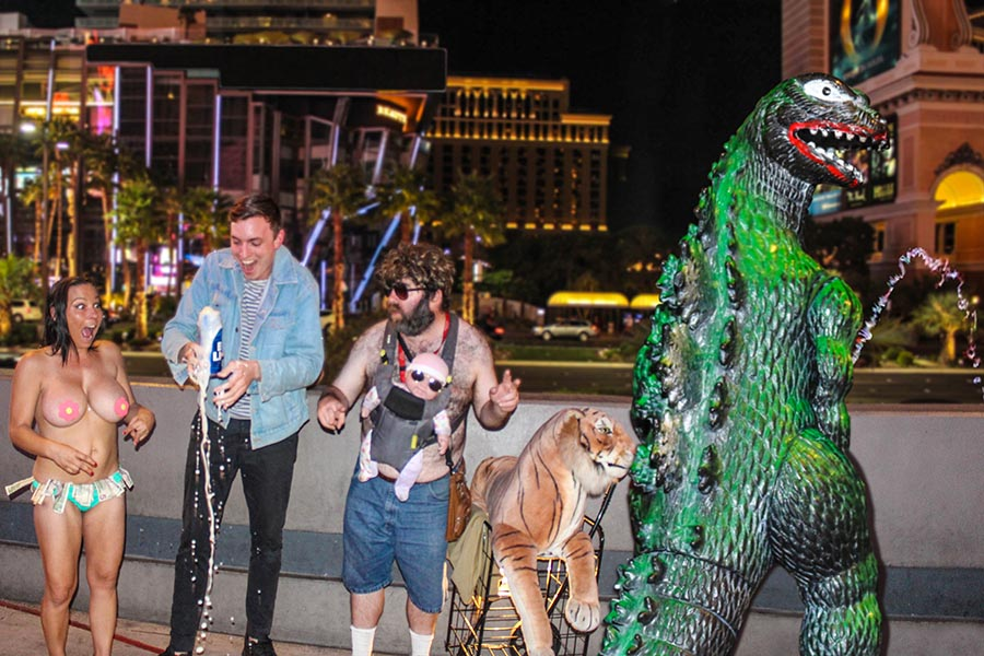 Godzilla proves he can party just as hard in Las Vegas as the guys in  The Hangover.  ( @ryangodziling )