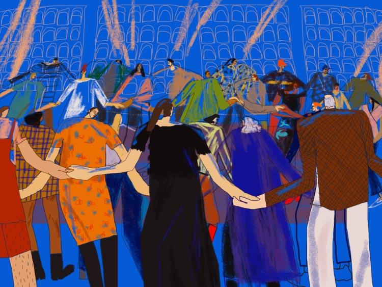 "Reclaimers dance the Spiral Dance while belting the lyrics to Starhawk's 1989 hit, ""Let It Begin."" (Art: H annah Buckman )"