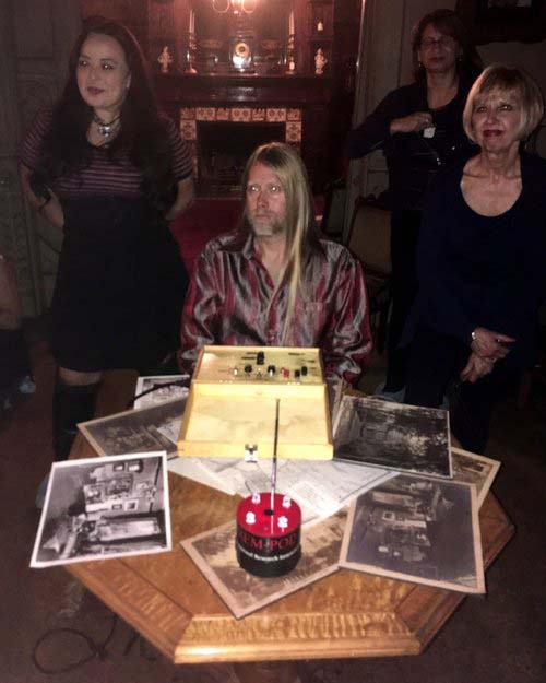 """Dee, Moon, and Paulette in the parlor, shortly before conducting the first """"ghost hunt"""" of the night. ( JS )"""