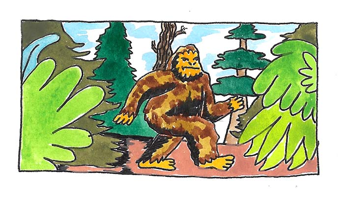 In recent years, North Carolina has become a hotbed for Bigfoot sightings. (Art:  Krusty Wheatfield )