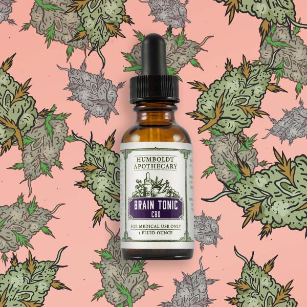 Humboldt Apothecary's Brain Tonic is actually quite tasty. If you let a few drops absorb under your tongue, you're more likely to smile than gag. (Art:  Nes Vuckovic )