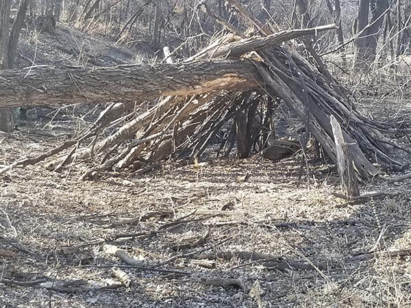 The team found this stick structure — believed to have been made by a Sasquatch — in the woods earlier this year. ( She-Squatchers )