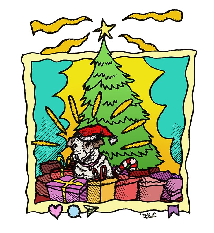 """Merry Christmas, children! Here's your old dog, back from the dead!"" (Art:   Trav  )"