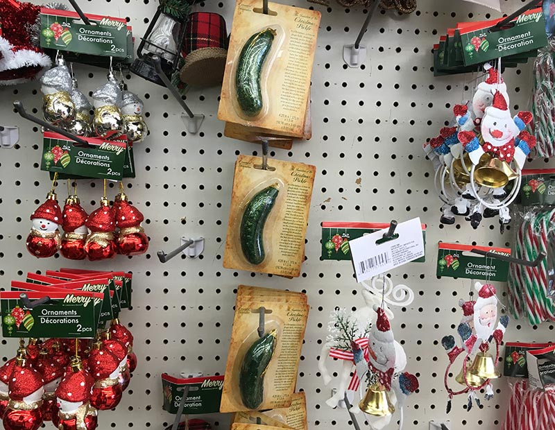 You can buy this exact Christmas Pickle ornament at Dollar Tree for 99 cents or on Amazon for $1.69 (plus $4.99 shipping). (  JS  )